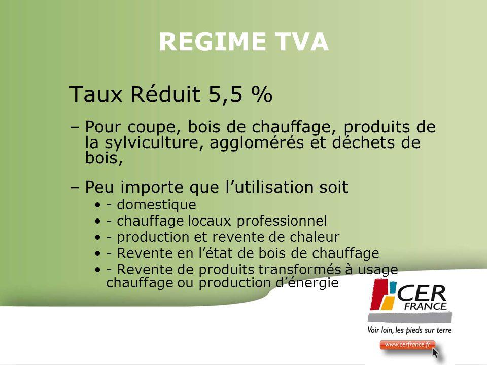 Bois Energie 17 decembre 20097 REGIME TVA Taux Réduit 5,5 % –Pour coupe, bois de chauffage, produits de la sylviculture, agglomérés et déchets de bois