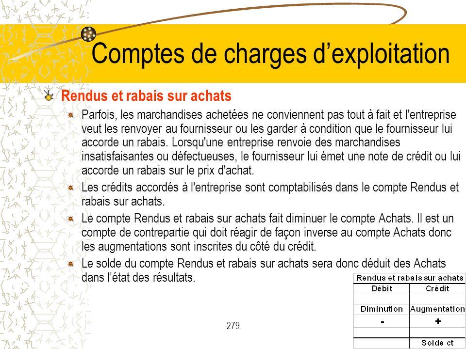 279 Comptes de charges dexploitation Rendus et rabais sur achats Parfois, les marchandises achetées ne conviennent pas tout à fait et l'entreprise veu