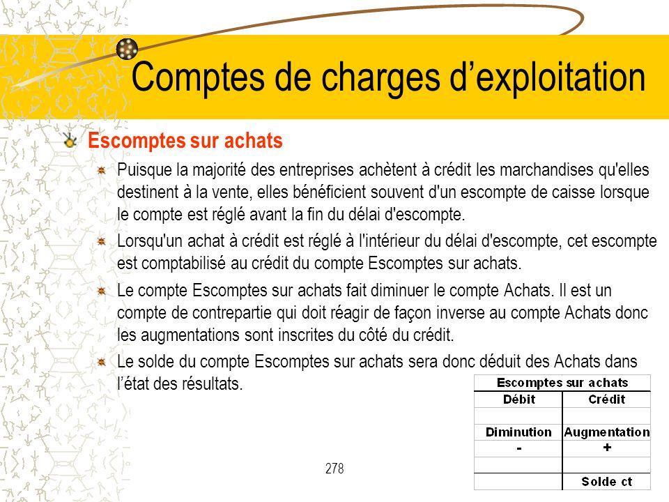 278 Comptes de charges dexploitation Escomptes sur achats Puisque la majorité des entreprises achètent à crédit les marchandises qu'elles destinent à
