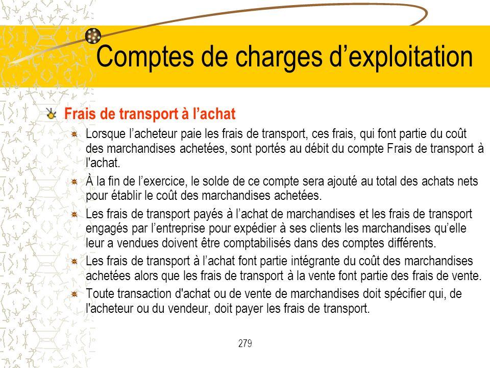 279 Comptes de charges dexploitation Frais de transport à lachat Lorsque lacheteur paie les frais de transport, ces frais, qui font partie du coût des marchandises achetées, sont portés au débit du compte Frais de transport à l achat.