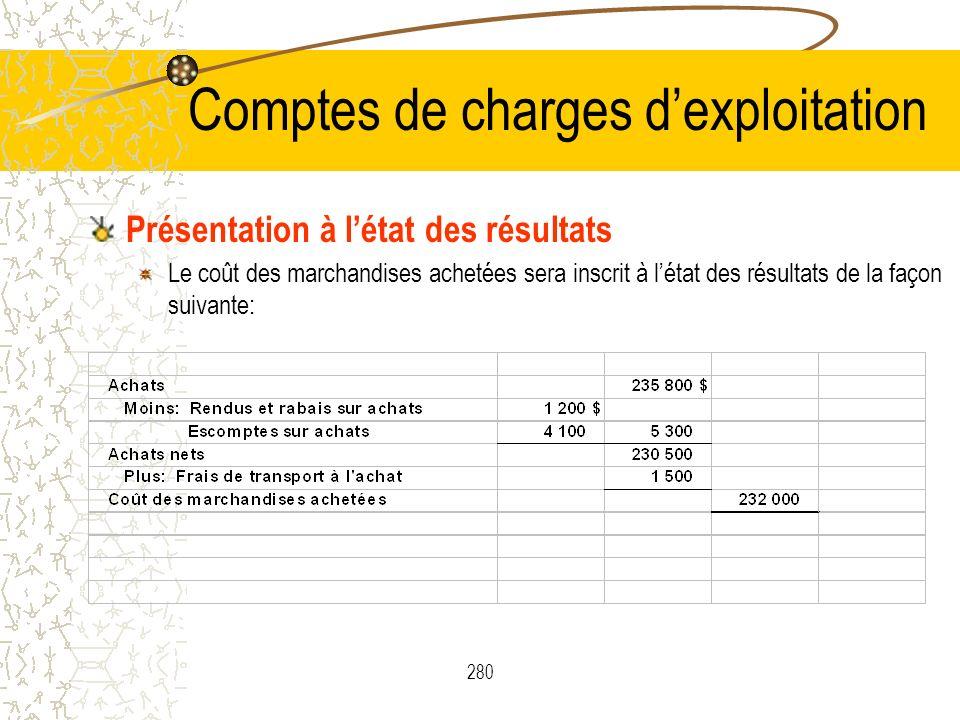 280 Comptes de charges dexploitation Présentation à létat des résultats Le coût des marchandises achetées sera inscrit à létat des résultats de la faç