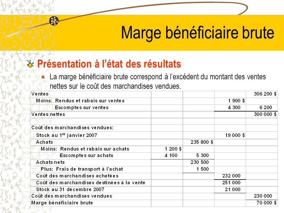 Marge bénéficiaire brute Présentation à létat des résultats La marge bénéficiaire brute correspond à lexcédent du montant des ventes nettes sur le coût des marchandises vendues.