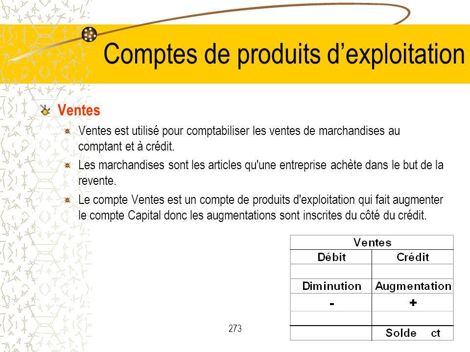 273 Comptes de produits dexploitation Ventes Ventes est utilisé pour comptabiliser les ventes de marchandises au comptant et à crédit. Les marchandise