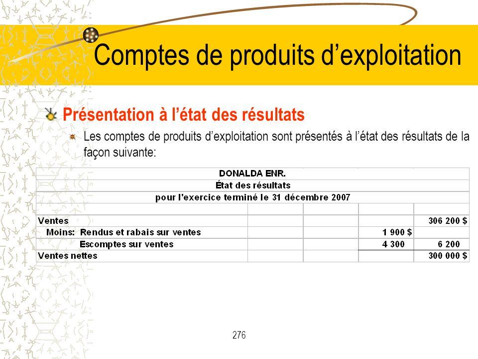 276 Comptes de produits dexploitation Présentation à létat des résultats Les comptes de produits dexploitation sont présentés à létat des résultats de