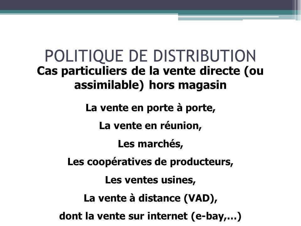 POLITIQUE DE DISTRIBUTION Le e-commerce = 66 % de la vente à distance (VAD)