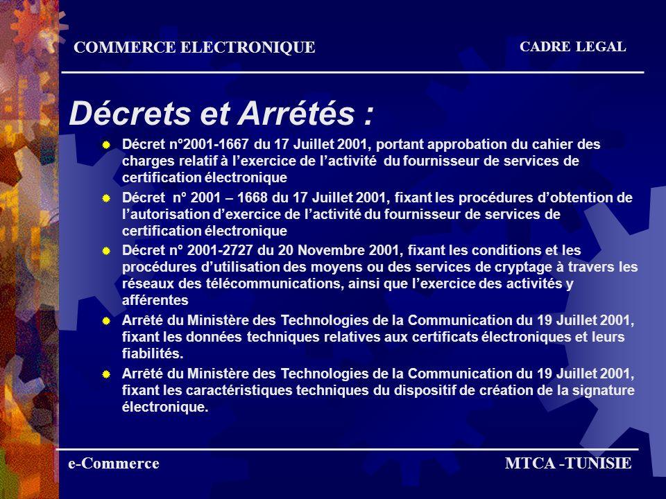 G to B Tunisie Trade Net (Douanes, partenaires Commerce Extérieur) Teledéclaration (des impôts) Inscription à distance Sicad Projets en cours (Sécurité Sociale) COMMERCE ELECTRONIQUE ADMINISTRATION EN LIGNE e-CommerceMTCA -TUNISIE