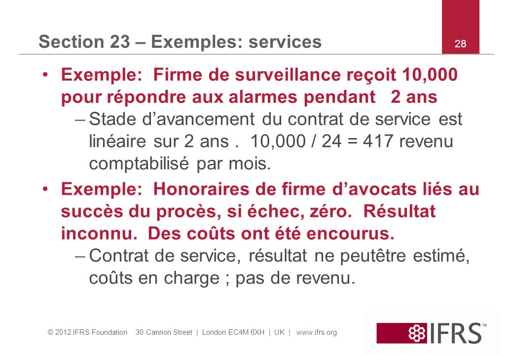 © 2012 IFRS Foundation 30 Cannon Street | London EC4M 6XH | UK | www.ifrs.org 28 Section 23 – Exemples: services Exemple: Firme de surveillance reçoit 10,000 pour répondre aux alarmes pendant 2 ans –Stade davancement du contrat de service est linéaire sur 2 ans.