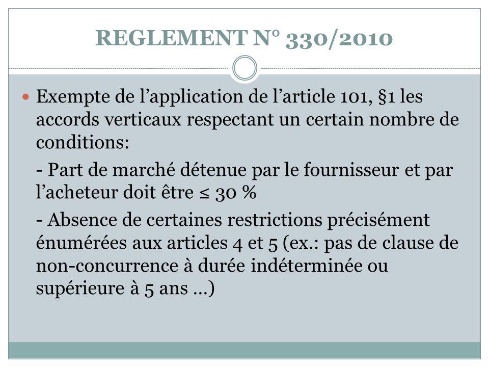 REGLEMENT N° 330/2010 Exempte de lapplication de larticle 101, §1 les accords verticaux respectant un certain nombre de conditions: - Part de marché d