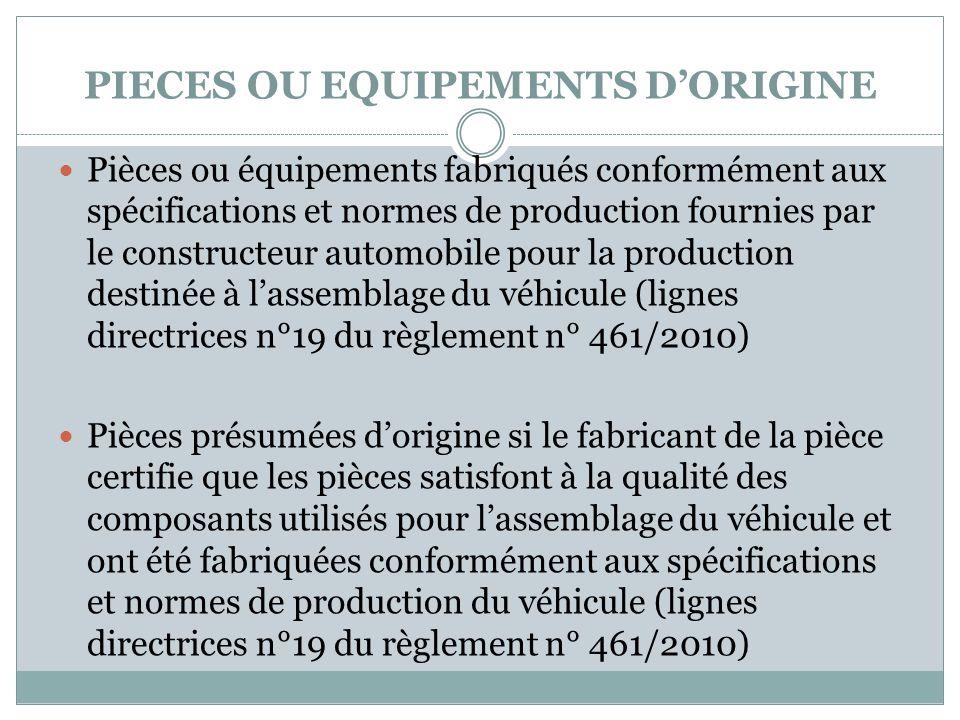 PIECES OU EQUIPEMENTS DORIGINE Pièces ou équipements fabriqués conformément aux spécifications et normes de production fournies par le constructeur au