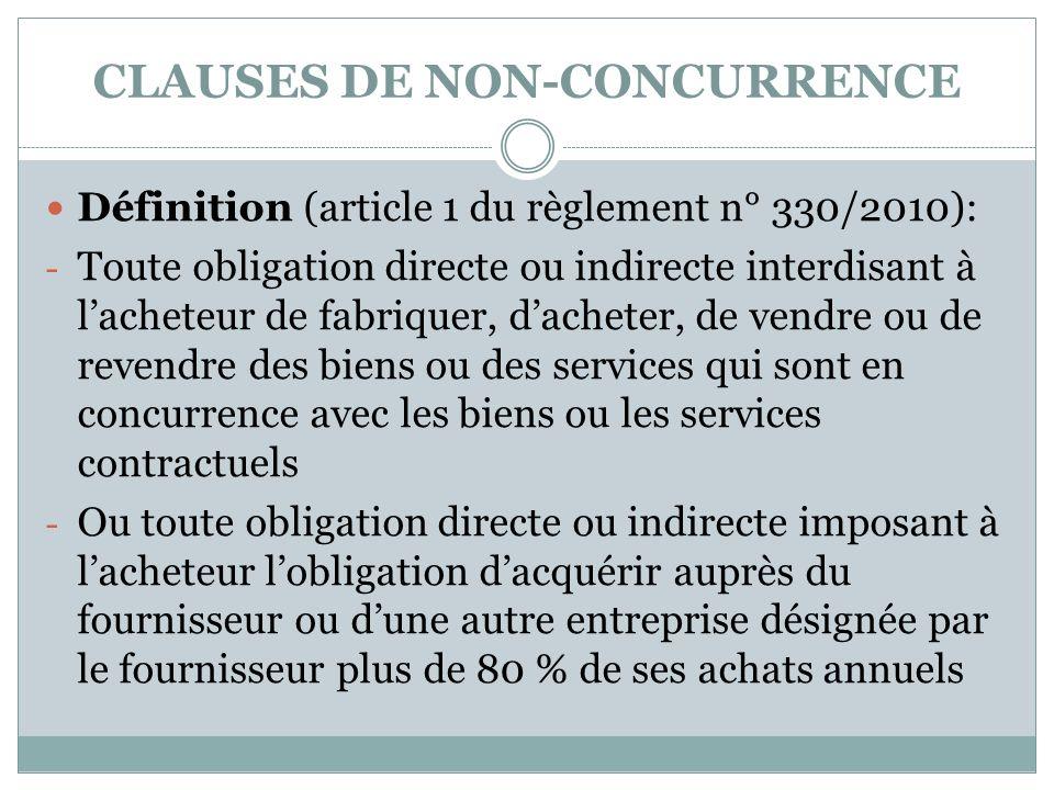CLAUSES DE NON-CONCURRENCE Définition (article 1 du règlement n° 330/2010): - Toute obligation directe ou indirecte interdisant à lacheteur de fabriqu