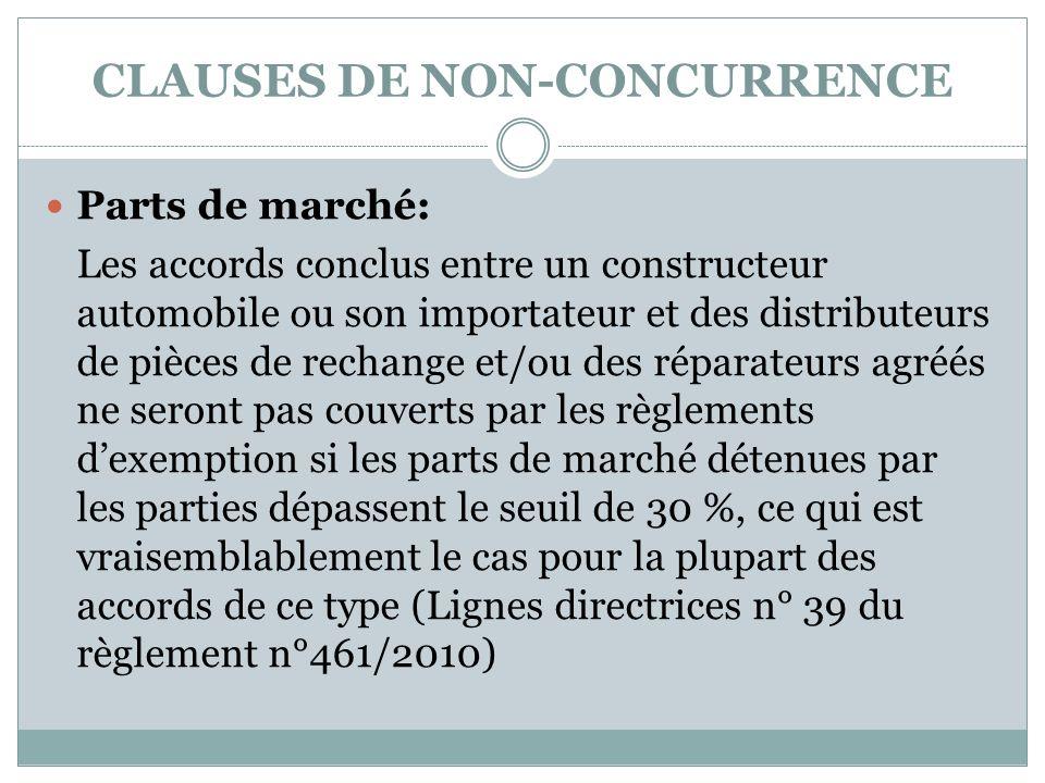 CLAUSES DE NON-CONCURRENCE Parts de marché: Les accords conclus entre un constructeur automobile ou son importateur et des distributeurs de pièces de