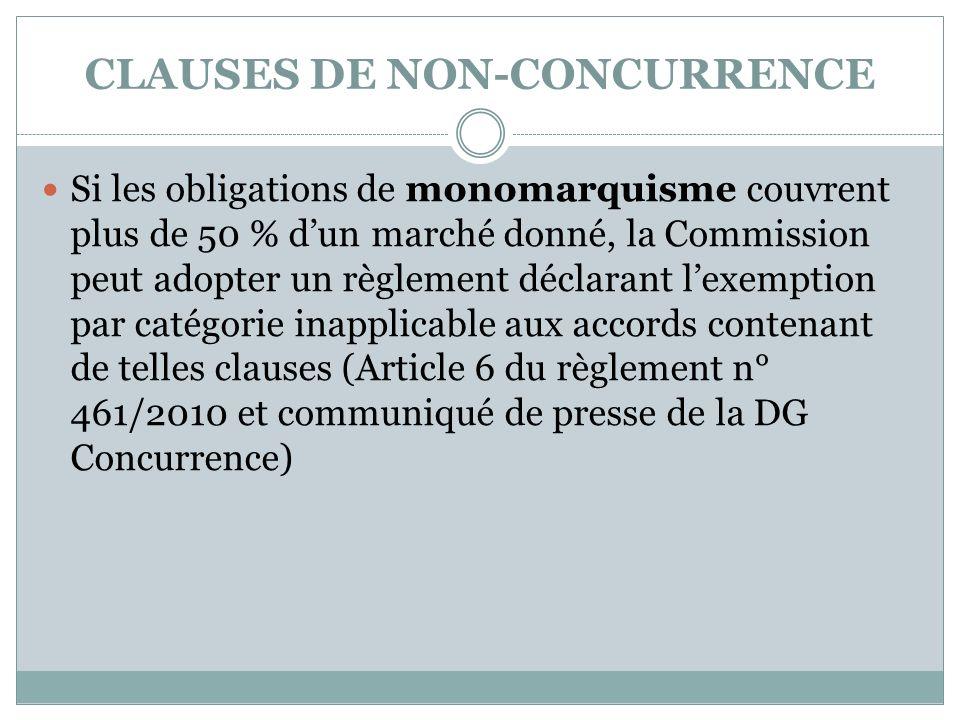 CLAUSES DE NON-CONCURRENCE Si les obligations de monomarquisme couvrent plus de 50 % dun marché donné, la Commission peut adopter un règlement déclara