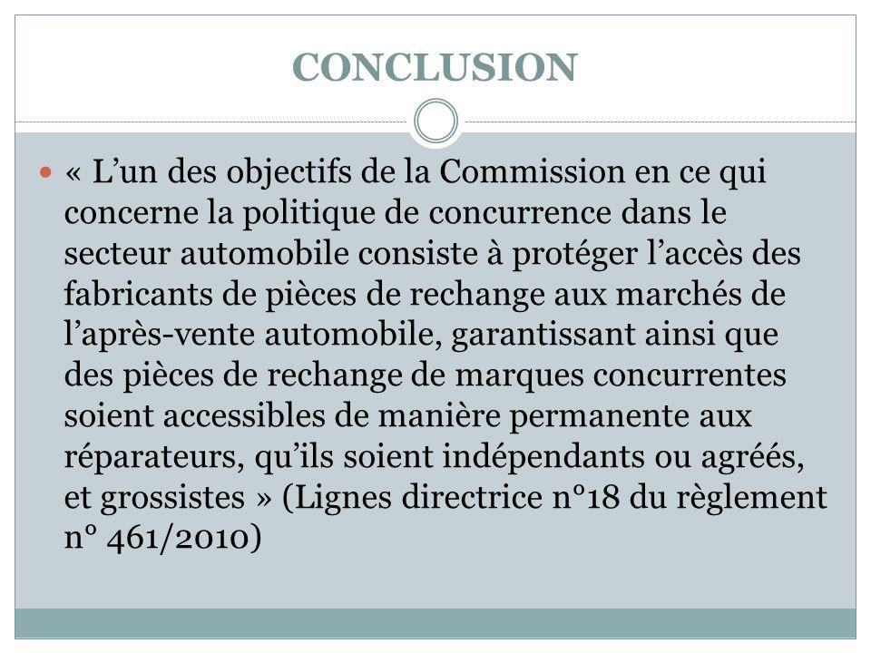 CONCLUSION « Lun des objectifs de la Commission en ce qui concerne la politique de concurrence dans le secteur automobile consiste à protéger laccès d