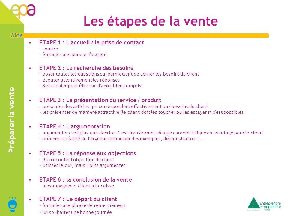 6 Aide Les étapes de la vente ETAPE 1 : L accueil / la prise de contact - sourire - formuler une phrase d accueil ETAPE 2 : La recherche des besoins - poser toutes les questions qui permettent de cerner les besoins du client - écouter attentivement les réponses - Reformuler pour être sur d avoir bien compris ETAPE 3 : La présentation du service / produit - présenter des articles qui correspondent effectivement aux besoins du client - les présenter de manière attractive (le client doit les toucher ou les essayer si c est possible) ETAPE 4 : L argumentation - argumenter c est plus que décrire.
