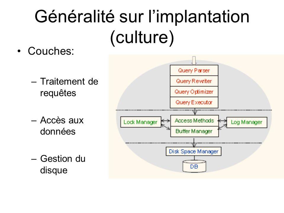 Généralité sur limplantation (culture) Couches: –Traitement de requêtes –Accès aux données –Gestion du disque