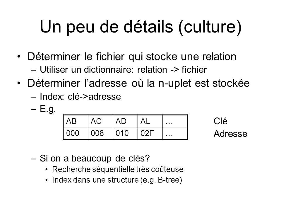 Un peu de détails (culture) Déterminer le fichier qui stocke une relation –Utiliser un dictionnaire: relation -> fichier Déterminer ladresse où la n-u