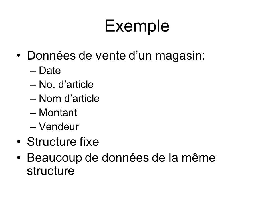 Exemple Données de vente dun magasin: –Date –No. darticle –Nom darticle –Montant –Vendeur Structure fixe Beaucoup de données de la même structure
