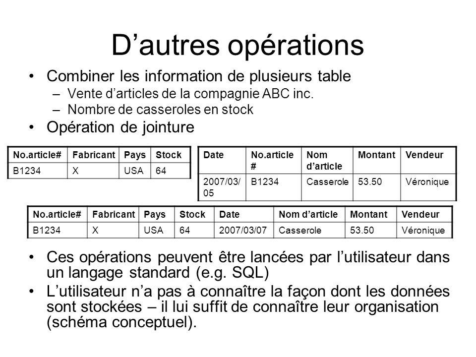 Dautres opérations Combiner les information de plusieurs table –Vente darticles de la compagnie ABC inc. –Nombre de casseroles en stock Opération de j