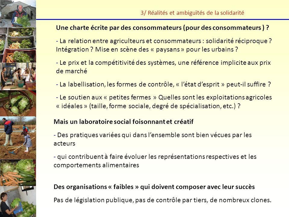 3/ Réalités et ambiguïtés de la solidarité Une charte écrite par des consommateurs (pour des consommateurs ) ? - La relation entre agriculteurs et con