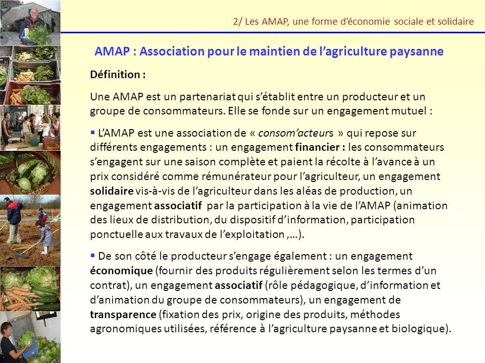AMAP : Association pour le maintien de lagriculture paysanne Définition : Une AMAP est un partenariat qui sétablit entre un producteur et un groupe de