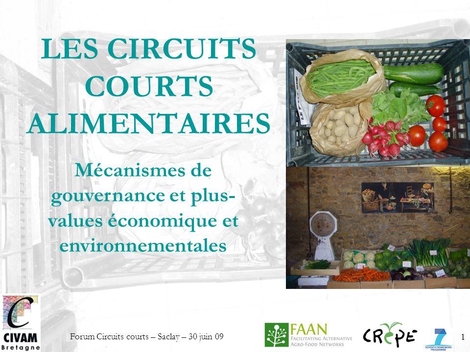 Forum Circuits courts – Saclay – 30 juin 091 LES CIRCUITS COURTS ALIMENTAIRES Mécanismes de gouvernance et plus- values économique et environnementale