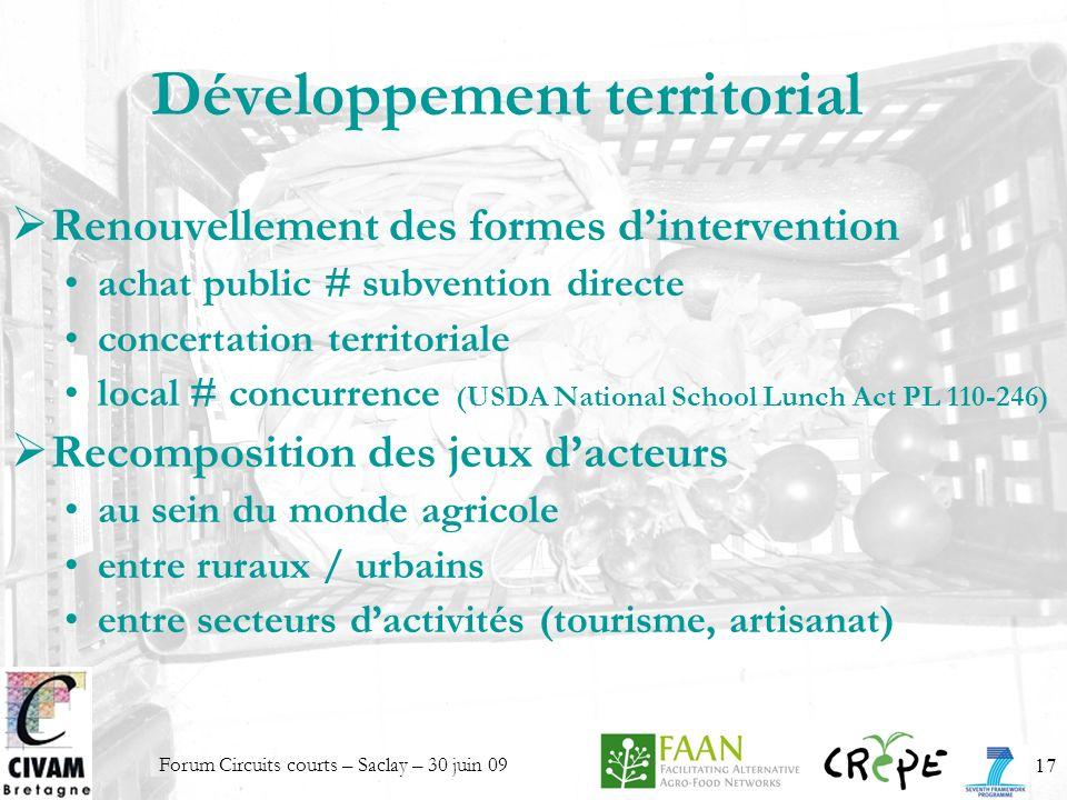 Forum Circuits courts – Saclay – 30 juin 0917 Développement territorial Renouvellement des formes dintervention achat public # subvention directe conc