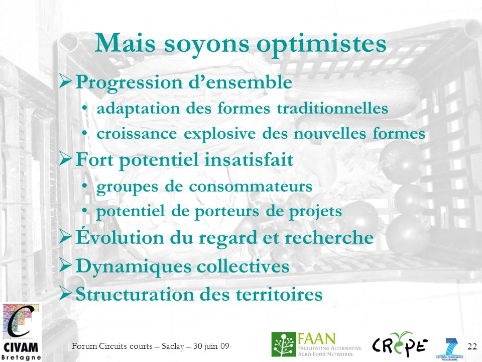 Forum Circuits courts – Saclay – 30 juin 0922 Mais soyons optimistes Progression densemble adaptation des formes traditionnelles croissance explosive