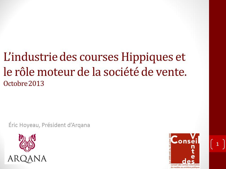 Lindustrie des courses Hippiques et le rôle moteur de la société de vente. Octobre 2013 Éric Hoyeau, Président dArqana 1