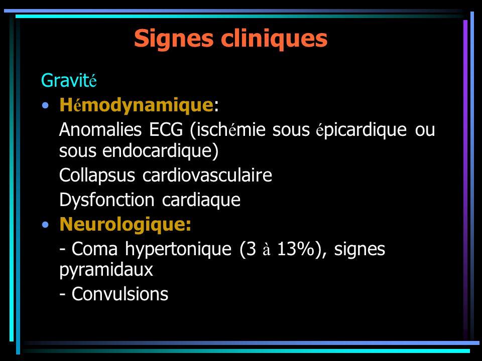 Signes cliniques Gravit é H é modynamique: Anomalies ECG (isch é mie sous é picardique ou sous endocardique) Collapsus cardiovasculaire Dysfonction ca