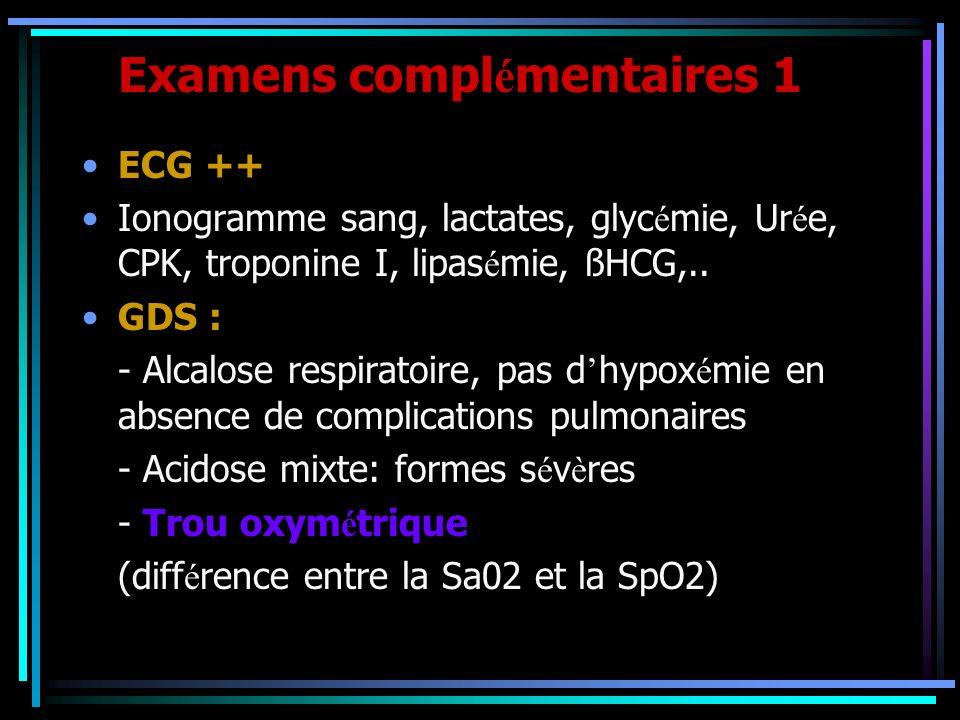 Examens compl é mentaires 1 ECG ++ Ionogramme sang, lactates, glyc é mie, Ur é e, CPK, troponine I, lipas é mie, ßHCG,.. GDS : - Alcalose respiratoire