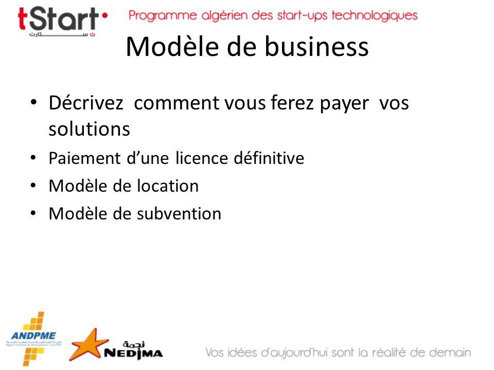 Modèle de business Décrivez comment vous ferez payer vos solutions Paiement dune licence définitive Modèle de location Modèle de subvention