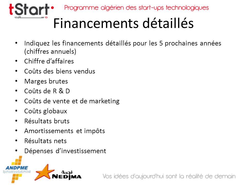 Financements détaillés Indiquez les financements détaillés pour les 5 prochaines années (chiffres annuels) Chiffre daffaires Coûts des biens vendus Ma