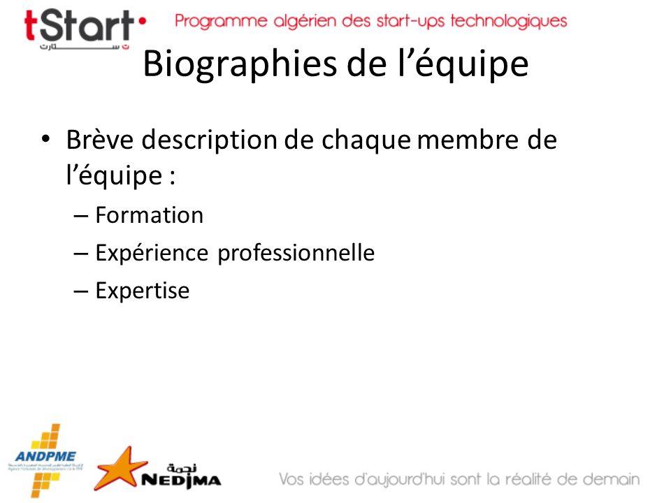 Biographies de léquipe Brève description de chaque membre de léquipe : – Formation – Expérience professionnelle – Expertise