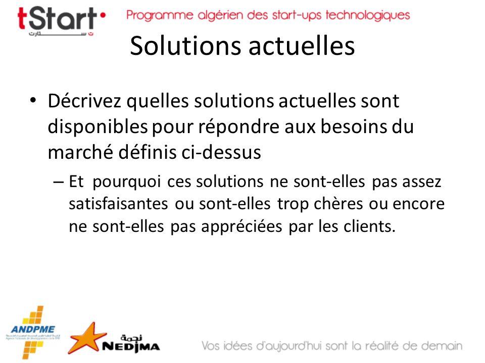 Solutions proposées Décrivez votre solution de technologie et comment celle-ci répond aux besoins du marché défini ci-dessus – Faîtes une description technique de votre solution