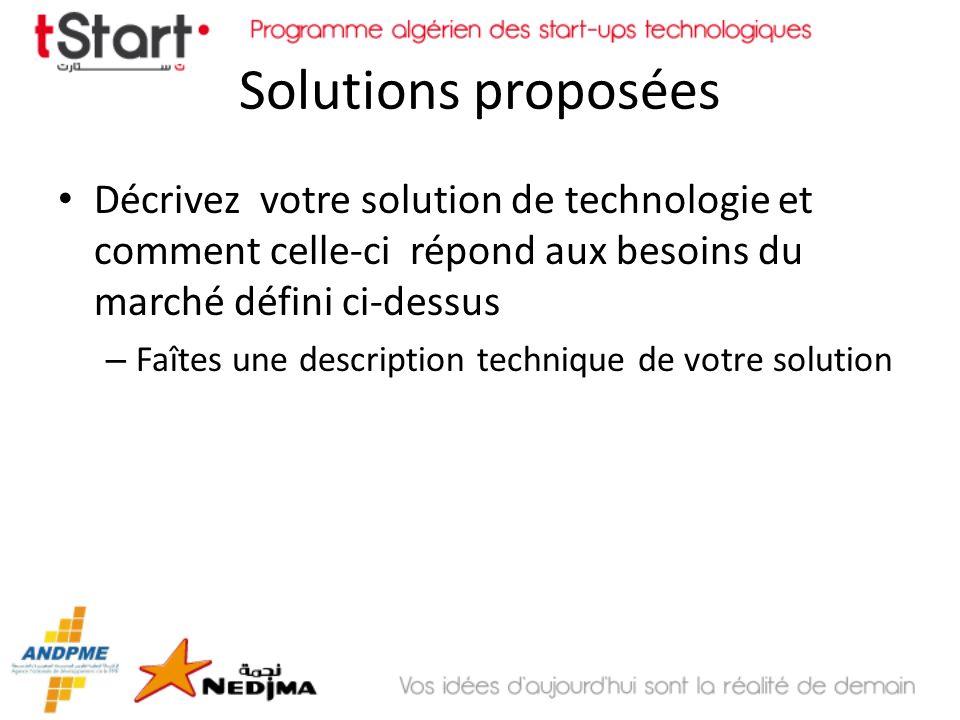 Solutions proposées Décrivez votre solution de technologie et comment celle-ci répond aux besoins du marché défini ci-dessus – Faîtes une description