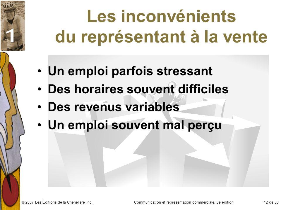 Communication et représentation commerciale, 3e édition12 de 33© 2007 Les Éditions de la Chenelière inc. Les inconvénients du représentant à la vente