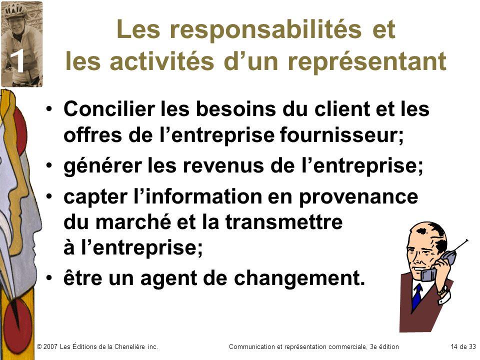 Communication et représentation commerciale, 3e édition14 de 33© 2007 Les Éditions de la Chenelière inc. Les responsabilités et les activités dun repr