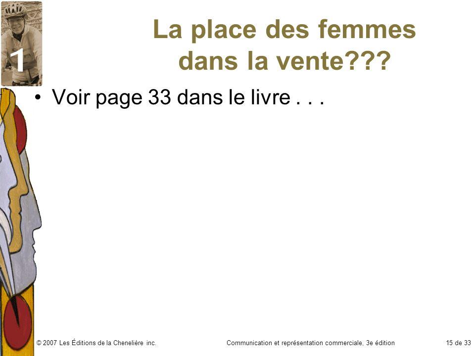 Communication et représentation commerciale, 3e édition15 de 33© 2007 Les Éditions de la Chenelière inc. La place des femmes dans la vente??? Voir pag
