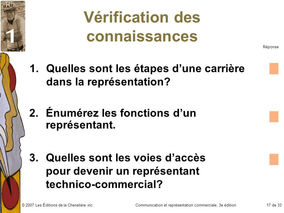 Communication et représentation commerciale, 3e édition17 de 33© 2007 Les Éditions de la Chenelière inc. Vérification des connaissances 1.Quelles sont