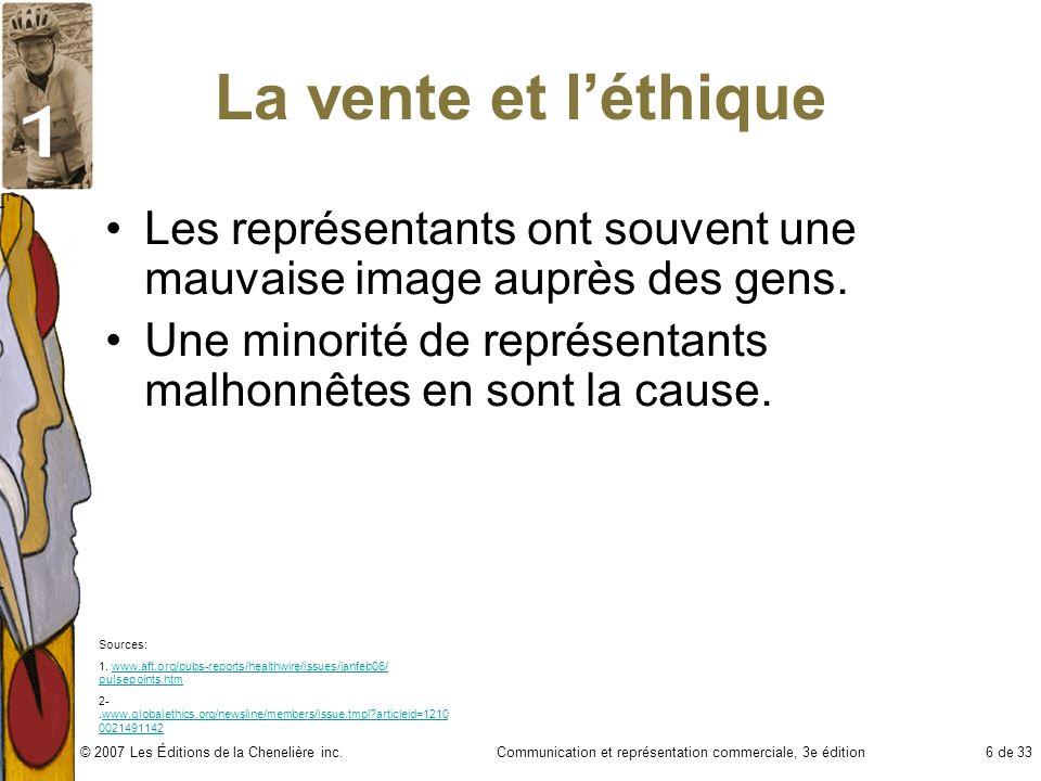 Communication et représentation commerciale, 3e édition17 de 33© 2007 Les Éditions de la Chenelière inc.