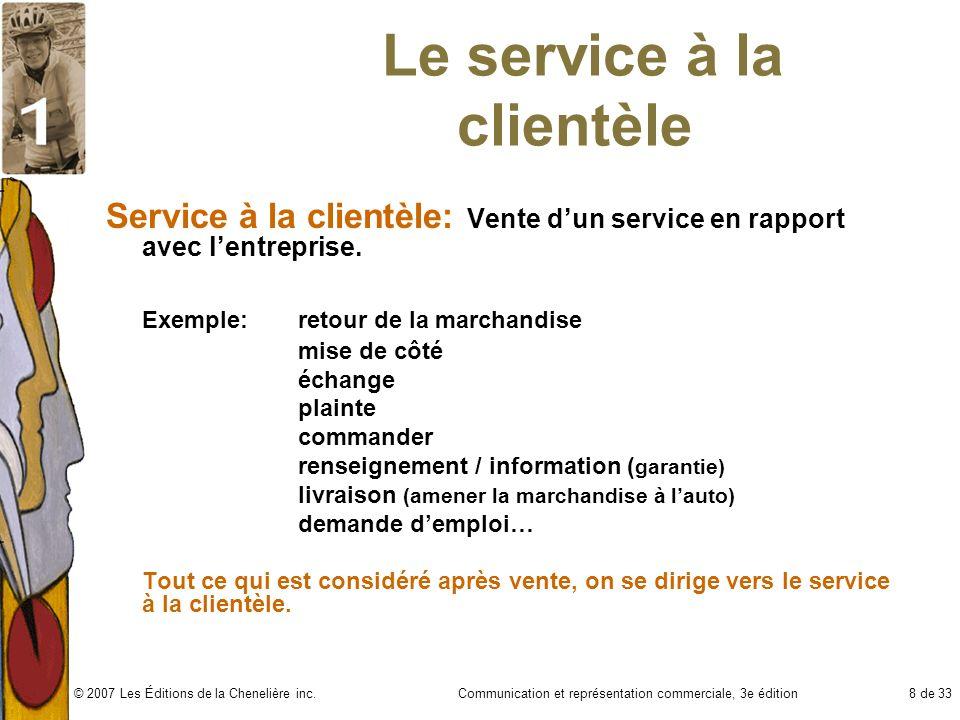 Communication et représentation commerciale, 3e édition8 de 33© 2007 Les Éditions de la Chenelière inc. Le service à la clientèle Service à la clientè