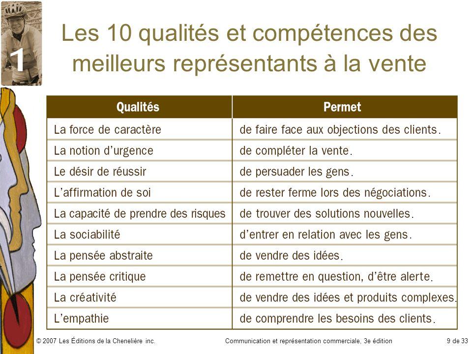 Communication et représentation commerciale, 3e édition9 de 33© 2007 Les Éditions de la Chenelière inc. Les 10 qualités et compétences des meilleurs r