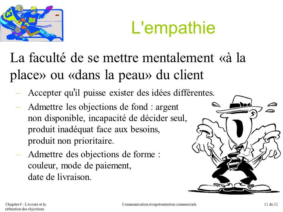 Chapitre 9 : L'écoute et la réfutation des objections Communication et représentation commerciale11 de 32 L'empathie La faculté de se mettre mentaleme