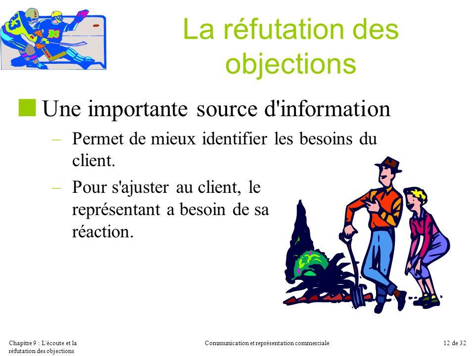 Chapitre 9 : L'écoute et la réfutation des objections Communication et représentation commerciale12 de 32 La réfutation des objections Une importante