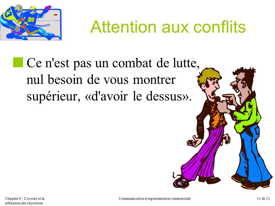 Chapitre 9 : L'écoute et la réfutation des objections Communication et représentation commerciale14 de 32 Attention aux conflits Ce n'est pas un comba