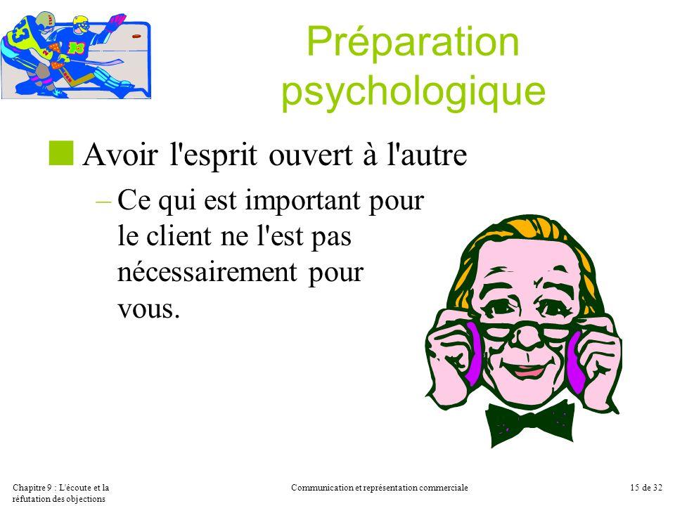 Chapitre 9 : L'écoute et la réfutation des objections Communication et représentation commerciale15 de 32 Préparation psychologique Avoir l'esprit ouv