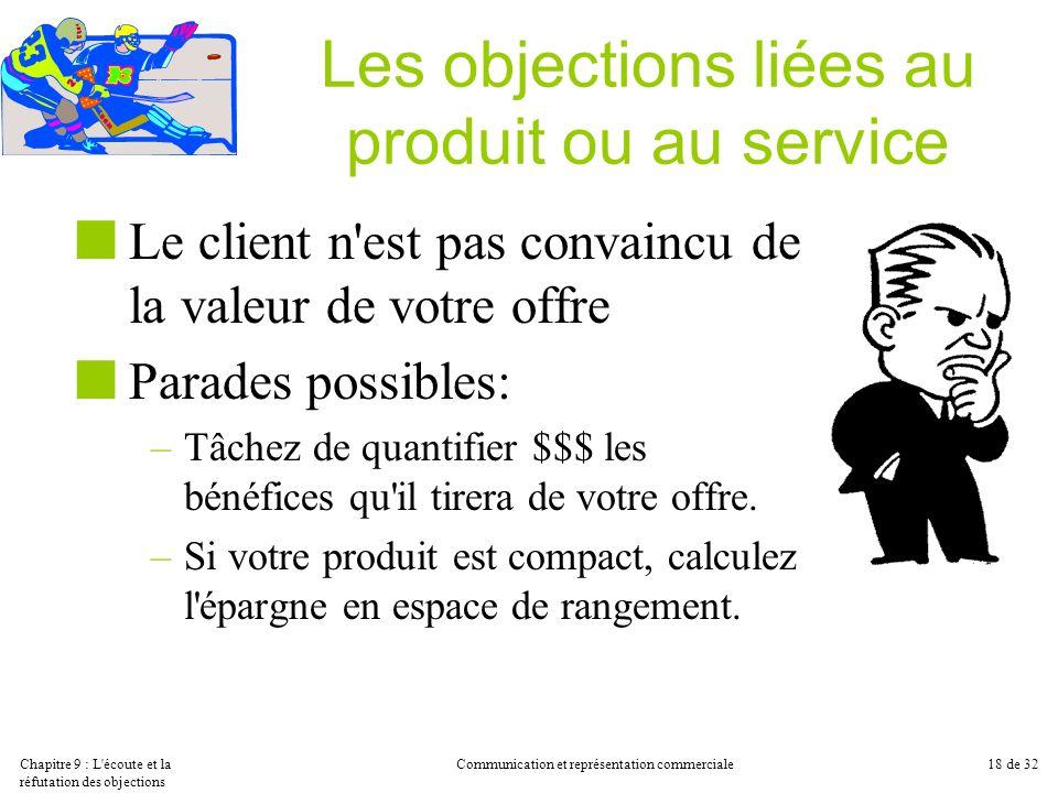 Chapitre 9 : L'écoute et la réfutation des objections Communication et représentation commerciale18 de 32 Les objections liées au produit ou au servic