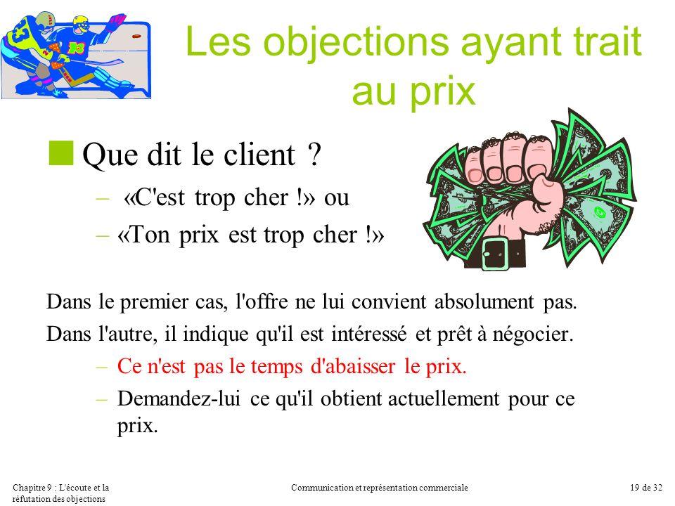 Chapitre 9 : L'écoute et la réfutation des objections Communication et représentation commerciale19 de 32 Les objections ayant trait au prix Que dit l