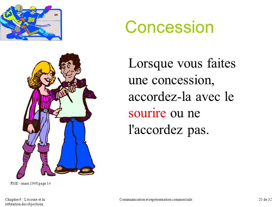 Chapitre 9 : L'écoute et la réfutation des objections Communication et représentation commerciale20 de 32 Concession Lorsque vous faites une concessio