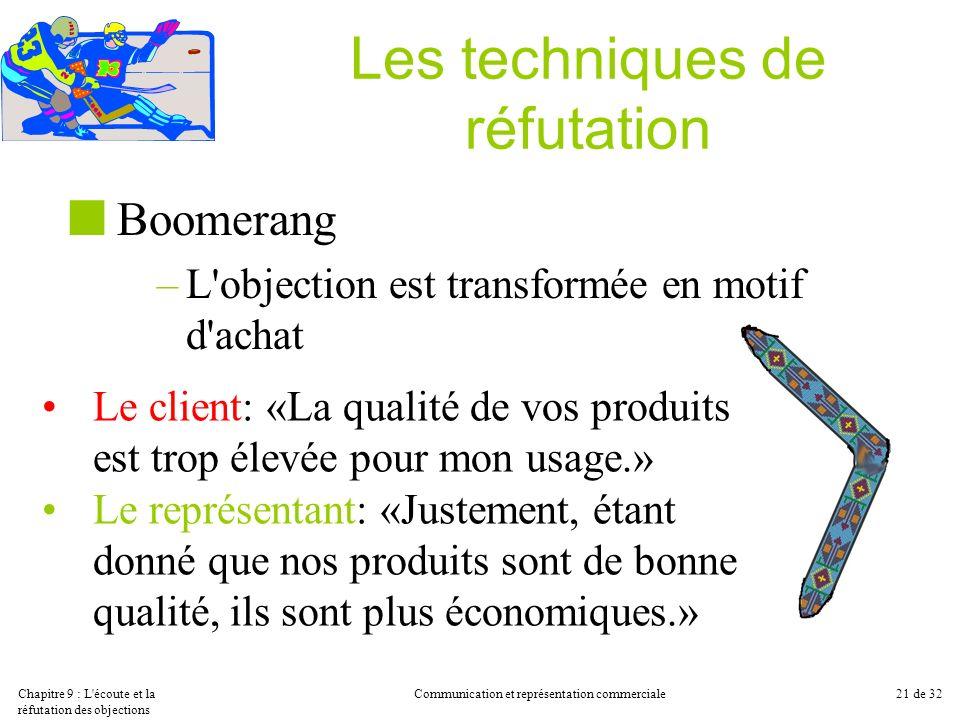 Chapitre 9 : L'écoute et la réfutation des objections Communication et représentation commerciale21 de 32 Les techniques de réfutation Boomerang –L'ob